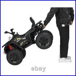 White 12V Electric Kids Ride On Car ATV Toy WithLED Light Music USB MP3 Boys Girls