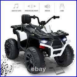 White Electric 12V Ride On Car ATV Quad LED Light Music 2 Speed Boy Girl ToyGift