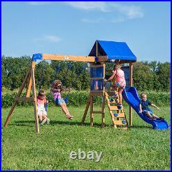 Wooden Cedar Swing Set Kids Boys Girls Outdoor Backyard Family Fun Slide Playset