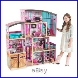Wooden Dollhouse Shimmer Mansion Doll House Kids Girls Toy For 12 Inch Dolls New