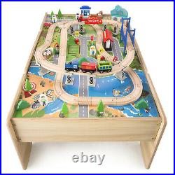 Wooden Train Table & City, Reversible with Drawer, Kids Toy Train Set 80Pcs