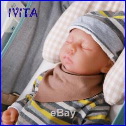 Xmas Gift 46cm Reborn Baby Eyes Closed Cute Girls Dolls Full Body Silicone Toys